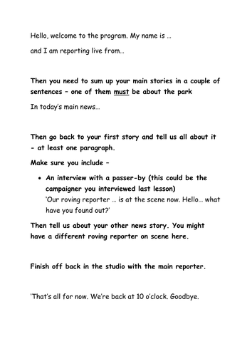 Save our park writing skills literacy lesson 12 news reports ks3