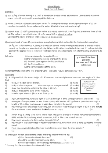 Work, Energy and Power worksheet