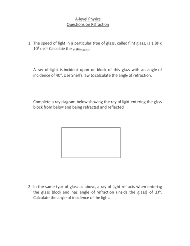 Refraction and Snell's Law Worksheet.