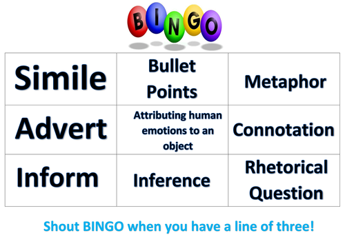 English Language Bingo