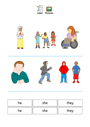 Pronouns - he, she, they. SEN, Speech and Language, Autism, Grammar