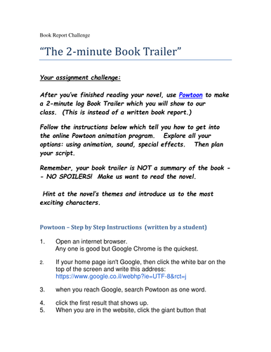 two minute book report with powtoon by bergstein teaching