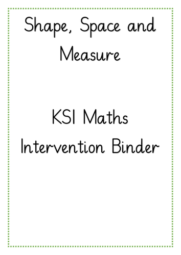 KS1 Shape, Space, Measure and Time Intervention Binder