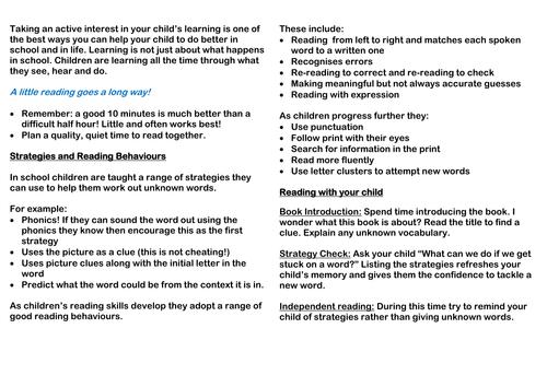 Reading Leaflet for Parents