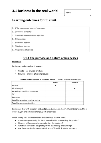 AQA 3.1.Business in the Real World