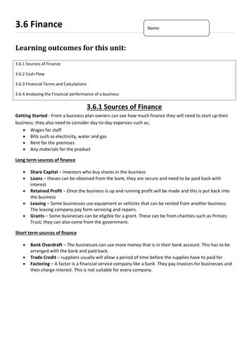 AQA 3.6 Finance
