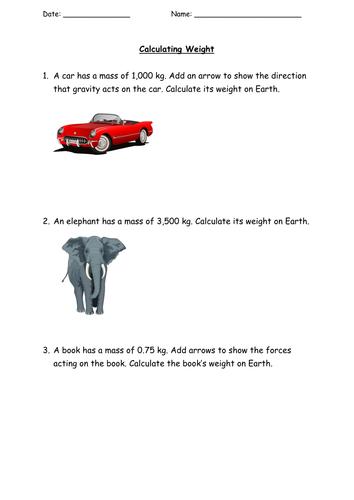 KS3/KS4 Calculating Weight practice problems