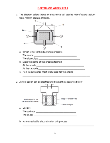 ELECTROLYSIS WORKSHEET A WITH ANSWERS