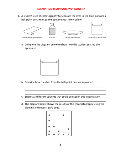 SEPARATION TECHNIQUES WORKSHEET A WITH ANSWERS