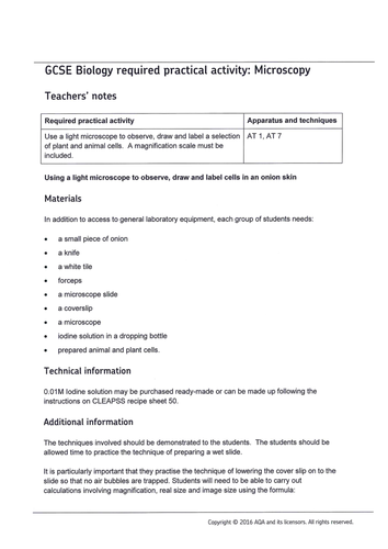 AQA GCSE Biology Required Practicals