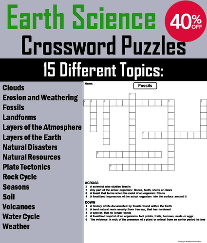 Earth Science Crossword Puzzles Bundle By ScienceSpot
