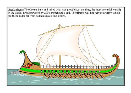 Ancient Greece - Greeks - Trireme Worksheets (Boats, ships, Battle of Marathon, Athens, Sparta)