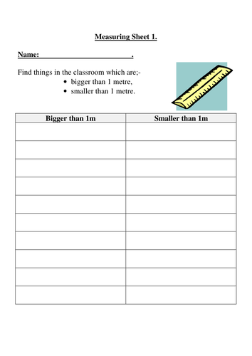 Measuring Length - Measure with Metres - Year 2 - Worksheets
