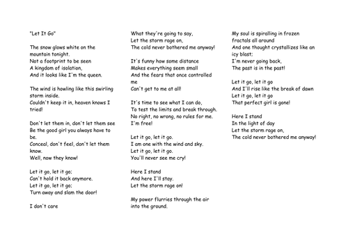 Let it Go from Frozen song lyrics poetry lesson for GCSE or KS3 English