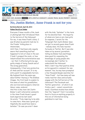 Writing to inform Justin Bieber Anne Frank themed lesson PEEL building