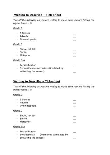 Descriptive writing exam skills lesson using 'My Little Pony' theme