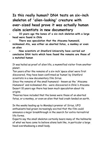 Writing to inform 'Aliens' themed skills building lesson for KS3 or KS4 English