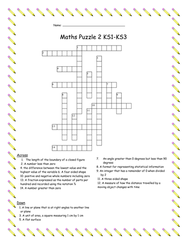 5x Maths Vocabulary Crossword and Wordsearch Puzzles KS1-KS3
