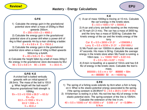 Energy Topic 1 Full Set of Revision Card Activities for New AQA Physics GCSE
