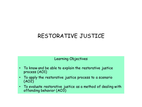 Restorative Justice for AQA A2 Psychology Forensics