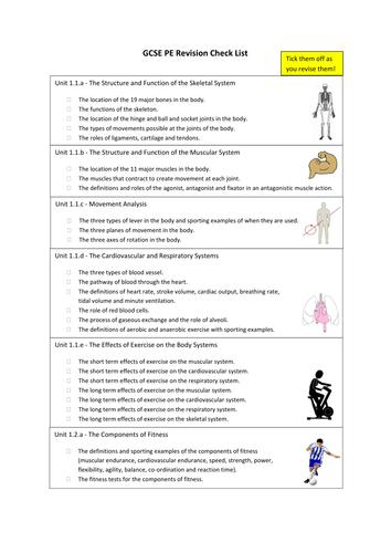OCR GCSE PE 9-1 (2016) - Revision Check List