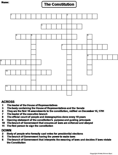 The Constitution Crossword Puzzle By Sciencespot