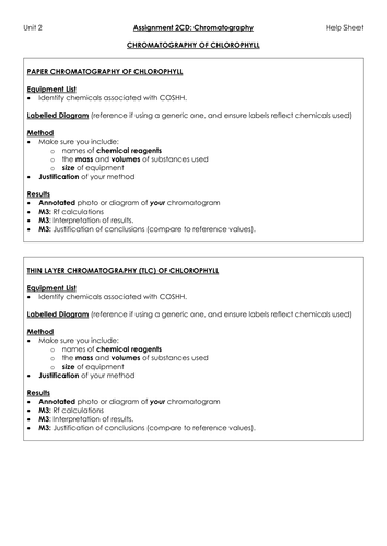 BTEC NQF L3 Applied Science: Unit 2: Assignment C: Help sheets