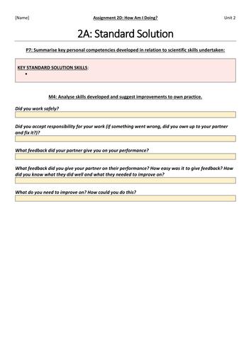 BTEC NQF L3 Applied Science: Unit 2: Assignment D