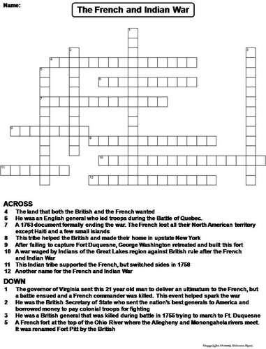 the french and indian war crossword puzzle by sciencespot teaching resources. Black Bedroom Furniture Sets. Home Design Ideas
