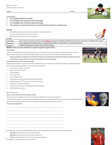 A-Level PE EDEXCEL (spec 2016) 5.4 Ethics and Deviance in Sport: Part 1