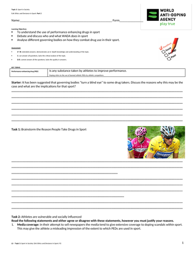 A-Level PE EDEXCEL (spec 2016) 5.4 Ethics and Deviance in Sport: Part 2