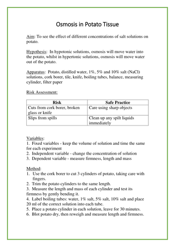 Experiment: Osmosis in Potato - student sheet