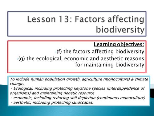New Spec - A level biology - OCR - Module 4 - Biodiversity - Chapter 11 - Factors affecting biodiver