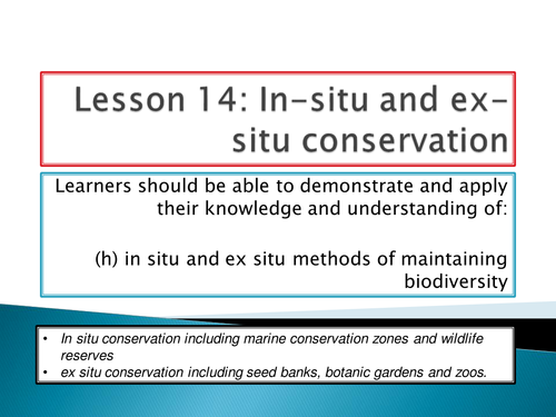 New Spec - A level biology - OCR - Module 4 - Biodiversity - Chapter 11 - In situ and ex situ cons