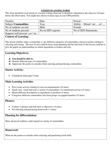 GCSE Food and Nutrition  Commodities Lesson plan