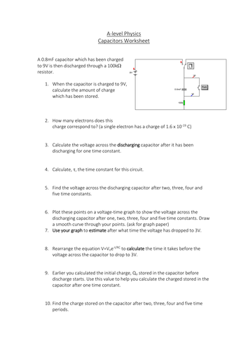 Capacitors Worksheet (3-in-1)