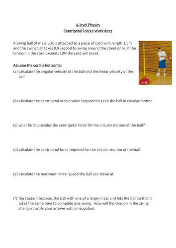 Centripetal Force Worksheet with solutions.