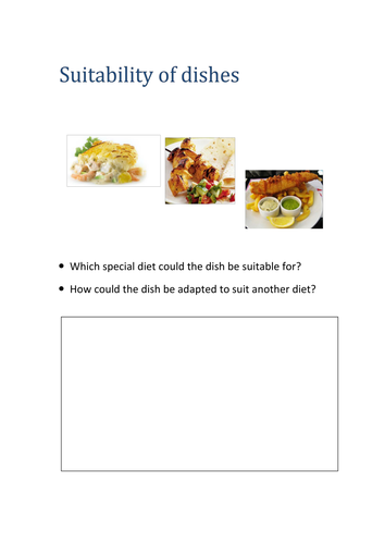 GCSE Food and Nutrition activity for special diets