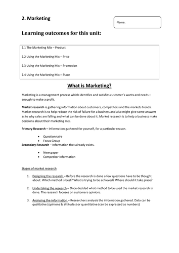 GCSE BUSINESS Marketing HOME LEARNING WORKBOOK