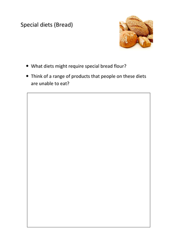 GCSE Food and Nutrition activity for basic bread dough