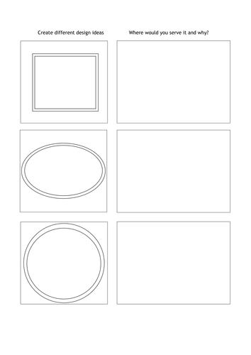 GCSE Food and Nutrition design activity (normal  font) for food presentation.
