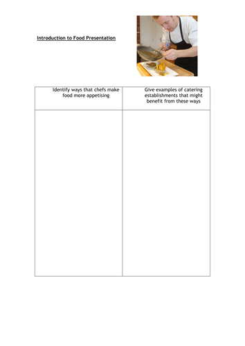 GCSE Food and Nutrition Introduction activity (normal font) for food presentation.