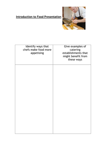 GCSE Food and Nutrition Introduction activity (large font) for food presentation.