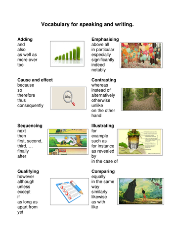 Vocabulary writing frames with illustarations