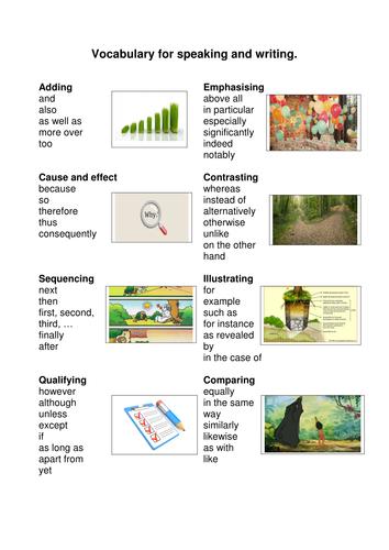 Vocabulary writing frames with illustarations