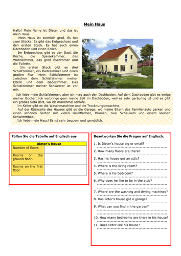 Secondary German resources: house