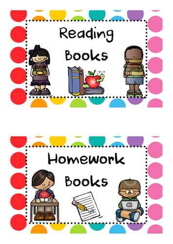 Rainbow Pop Reading Book/Homework Book Box Labels