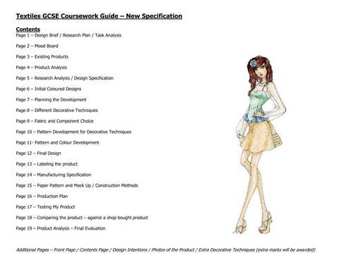 Super Helpful GCSE Textiles AQA Coursework Guide 2018 Submission Only