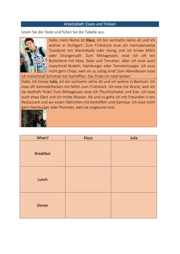 Middle school German resources: healthy living
