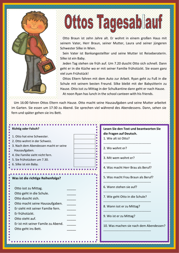 Elementary school German resources: daily routine